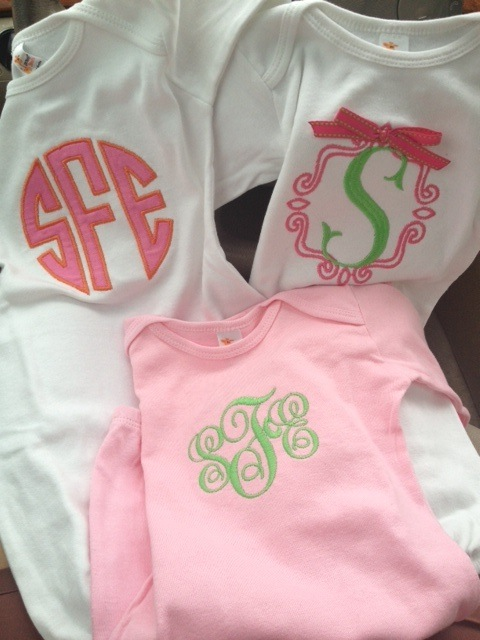 monogrammed onesies